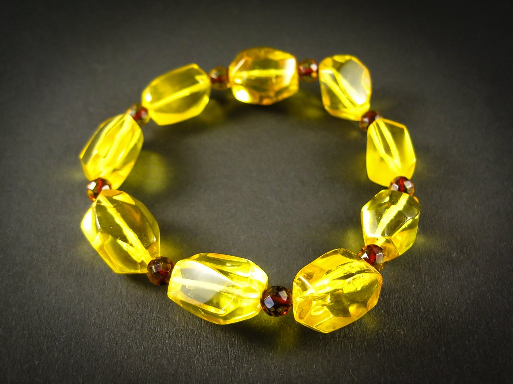 Genuine Handmade Amber Bracelet, Transparent Lemon and Cognac, medium Size, Faceted Beads, , For Her, Nursing Mums