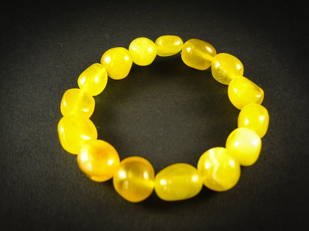 Genuine Handmade Amber Bracelet, Yellow, Milky, Egg-Yolk Oval Beads, medium Size, For Her, Nursing Mums