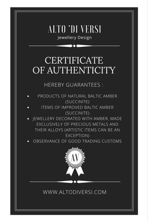 Alto 'di Versi Baltic Amber Jewelry Certificate of Authenticity