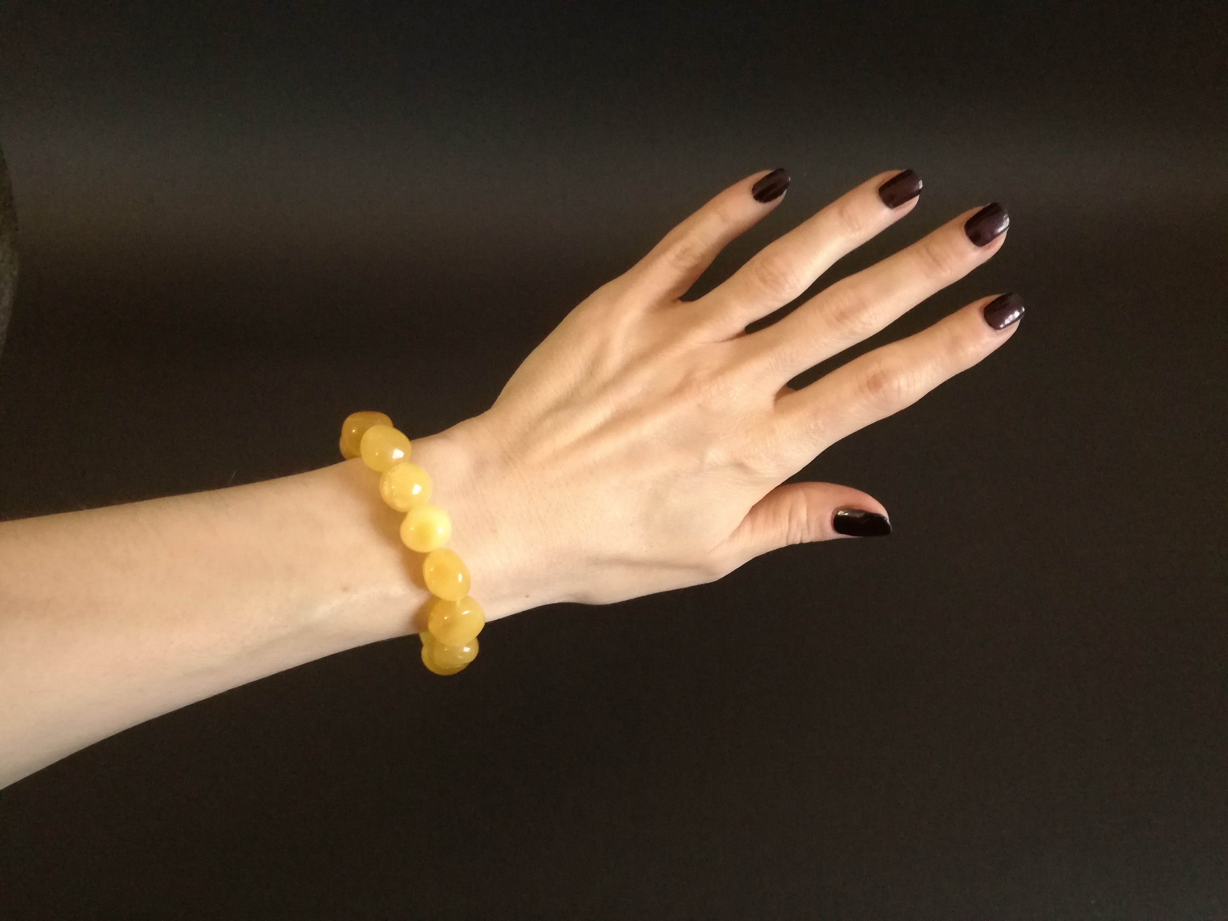 Genuine Handmade Amber Bracelet in Hand, Yellow, Milky, Egg-Yolk Oval Beads, medium Size, For Her, Nursing Mums