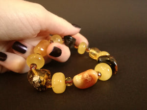 Genuine Handmade Amber Bracelet in Hand, Multicolor, medium Size, Small Faceted Beads, , For Her, Nursing Mums