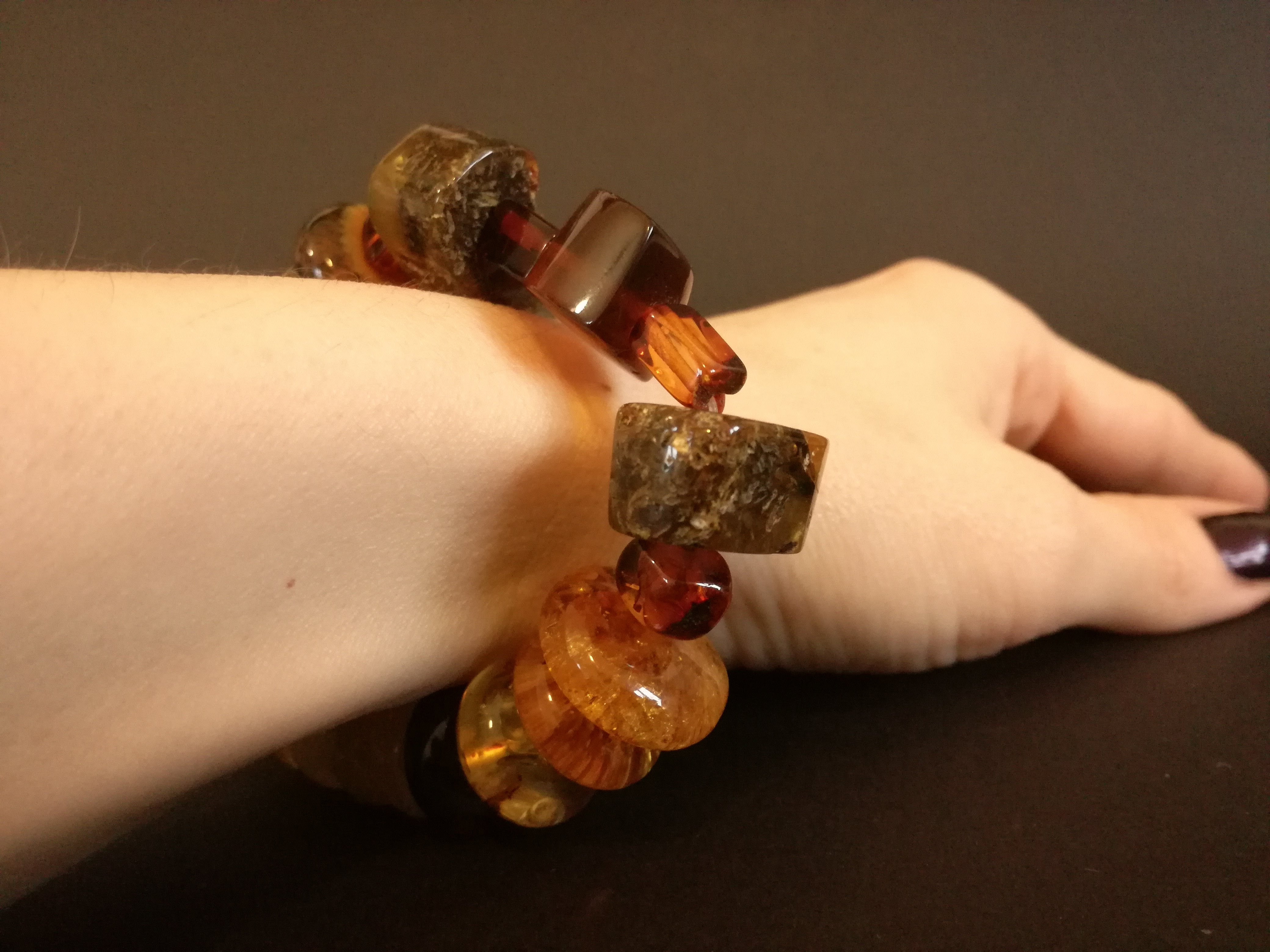 Genuine Handmade Amber Bracelet on Hand, Multicolor, big Size, irregular beads, For Her, Nursing Mums