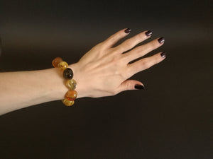 Genuine Handmade Amber Bracelet on Hand, Multicolor, medium Size, Small Faceted Beads, , For Her, Nursing Mums