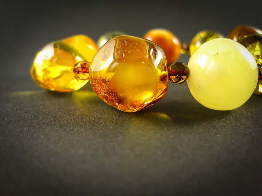 Genuine Handmade Amber Bracelet, Multicolor, Big Size, Big round beads and small faceted beads, For Her, Nursing Mums