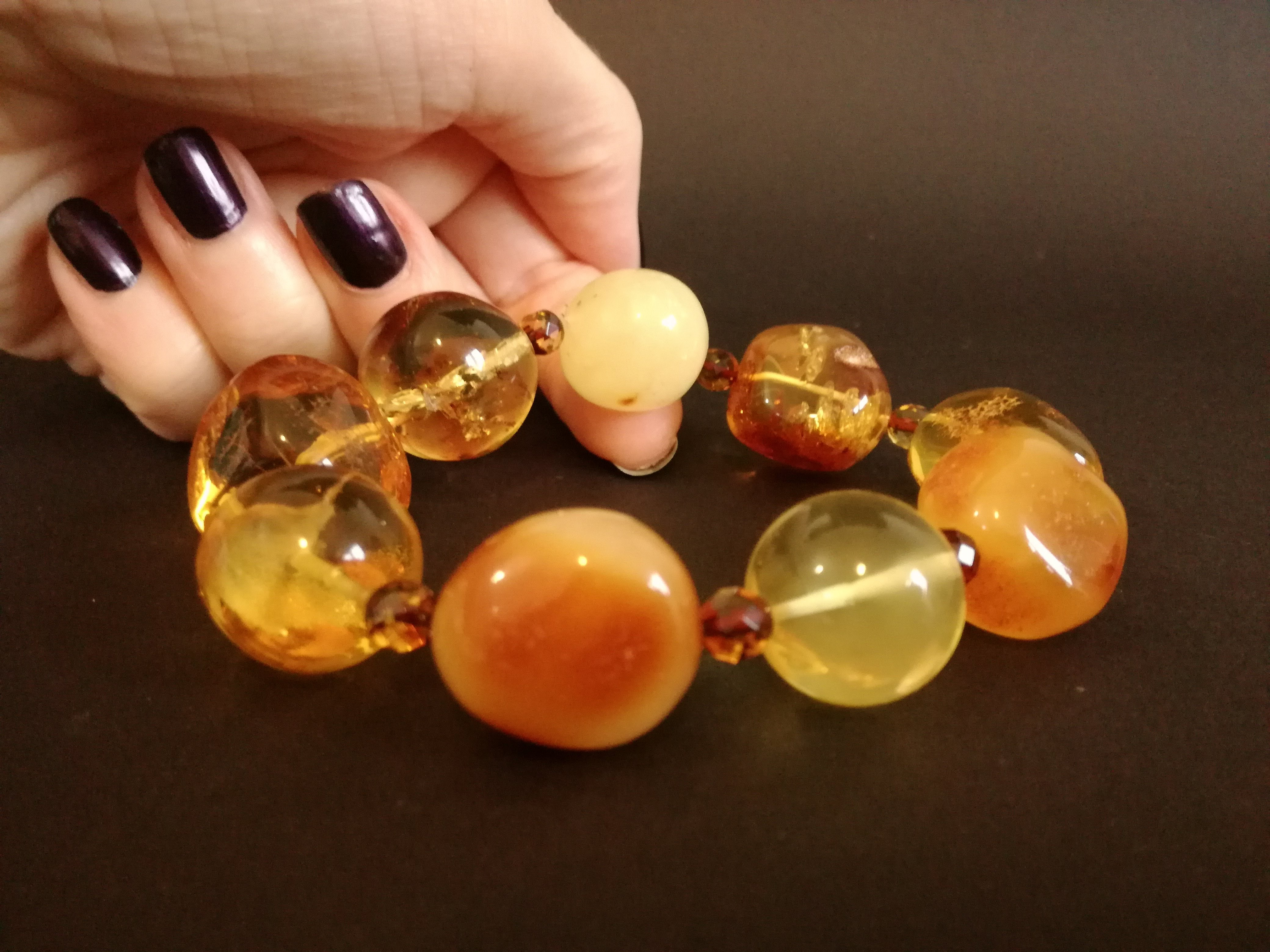 Genuine Handmade Amber Bracelet in Hand, Multicolor, Big Size, Big round beads and small faceted beads, For Her, Nursing Mums