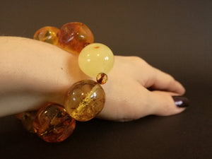 Genuine Handmade Amber Bracelet on Hand, Multicolor, Big Size, Big round beads and small faceted beads, For Her, Nursing Mums