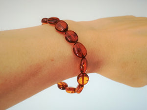 Genuine Handmade Amber Bracelet, Cognac, Medium Size, polished oval Beads, Healing properties, For Her, Nursing Mums