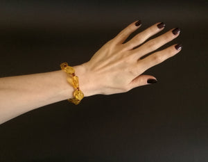 Genuine Handmade Amber Bracelet in Hand, Transparent Lemon and Cognac, medium Size, Faceted Beads, , For Her, Nursing Mums