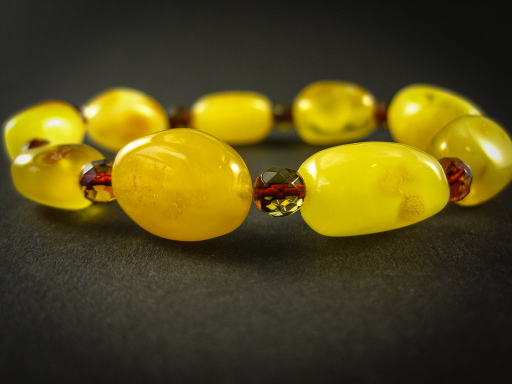 Genuine Handmade Amber Bracelet, Egg-Yolk, Milky, Yellow, medium Size, Oval Beads, Small Faceted Beads, For Her, Nursing Mum