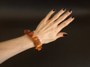 Genuine Handmade Amber Bracelet in Hand, Cognac, Honey, Medium Size, Raw Natural Gemstone, Unpolished Beads, Healing properties, Nursing Mums