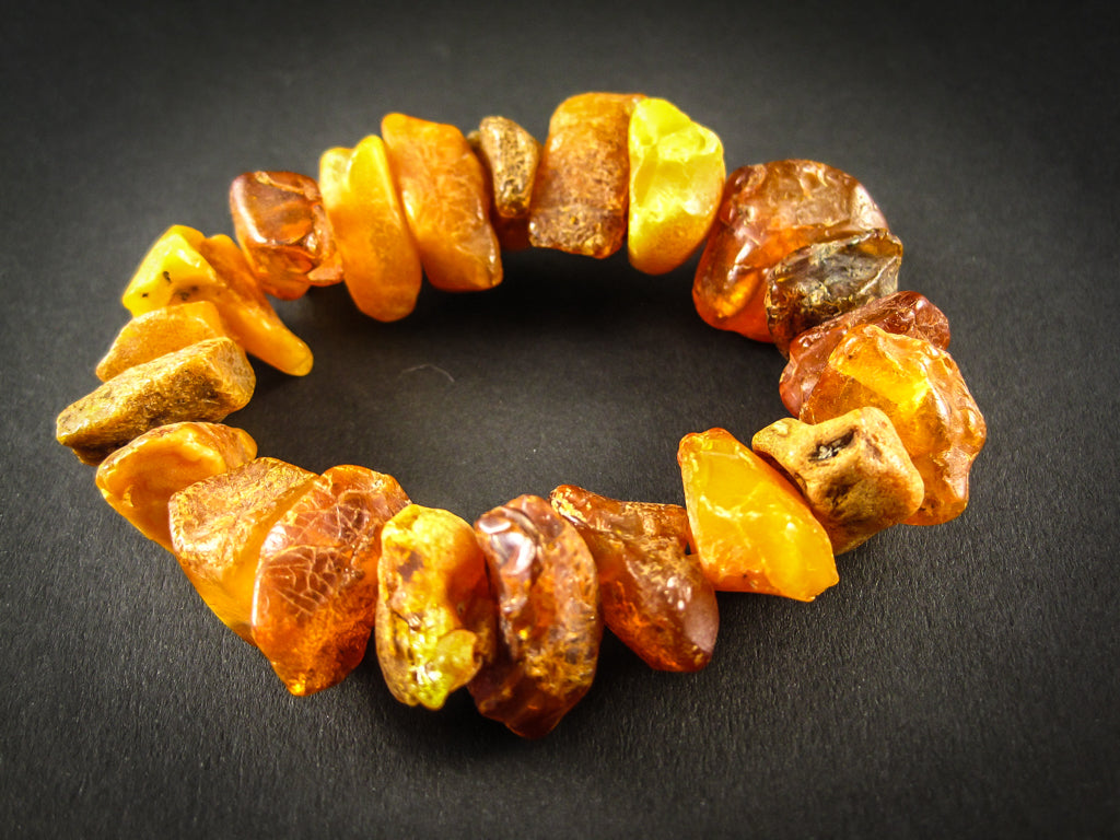 Genuine Handmade Amber Bracelet, Cognac, Honey, Medium Size, Raw Natural Gemstone, Unpolished Beads, Healing properties, Nursing Mums
