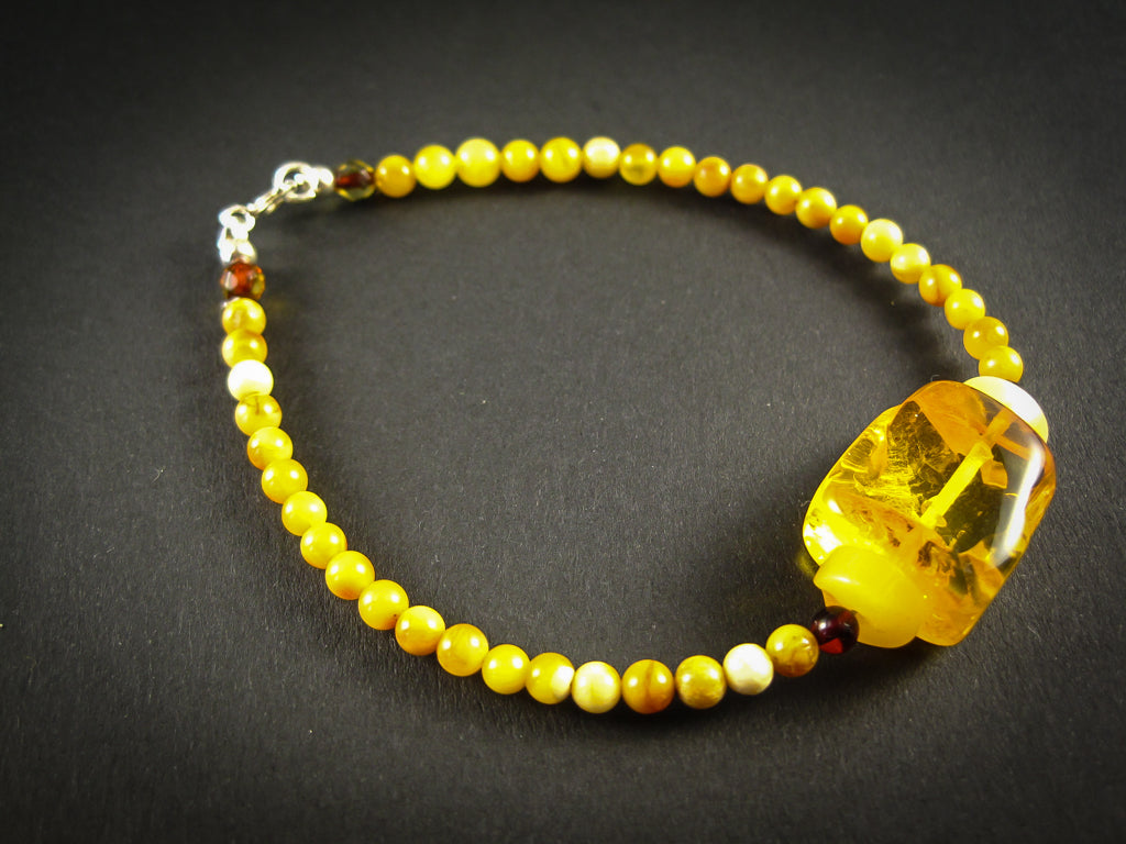 Genuine Handmade Amber Bracelet, Milky, Egg Yolk, Medium Size, Small Round Beads, Healing properties, For Her, Nursing Mums