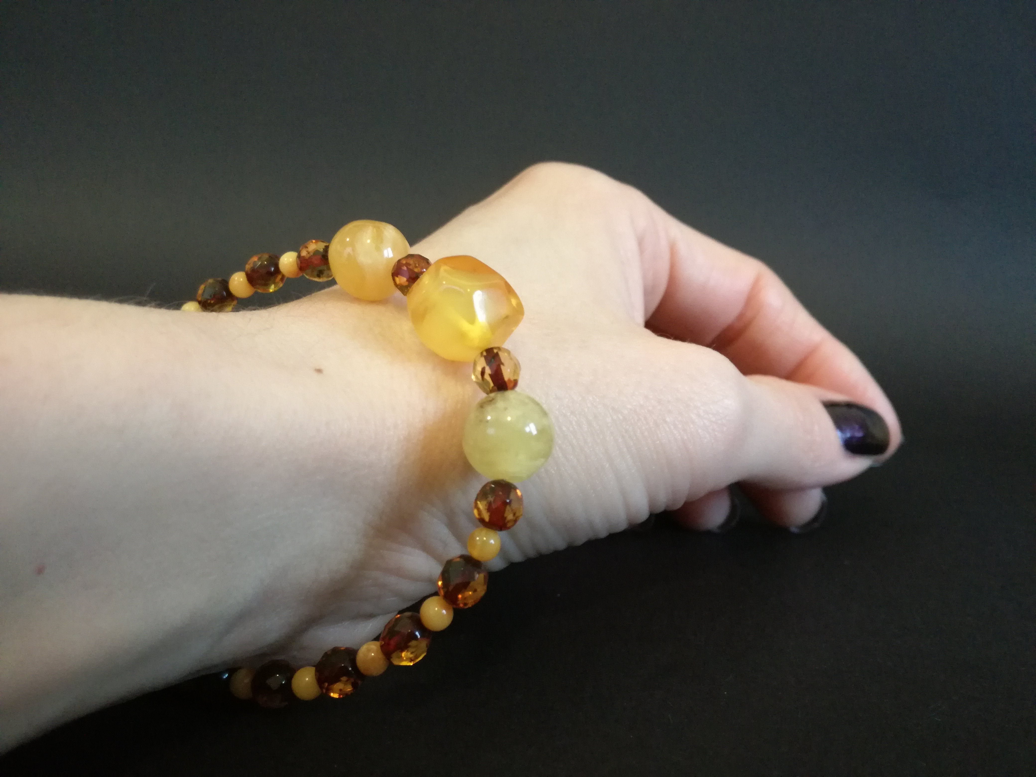 Genuine Handmade Amber Bracelet in Hand, Milky, Cognac, Small Size, faceted, Small Round Beads, Healing properties, For Her, Nursing Mums