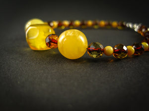 Genuine Handmade Amber Bracelet, Milky, Cognac, Small Size, faceted, Small Round Beads, Healing properties, For Her, Nursing Mums