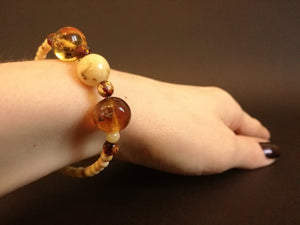 Genuine Handmade Amber Bracelet in Hand, Milky, Egg Yolk, Small Size, Small Round Beads, Healing properties, For Her, Nursing Mums