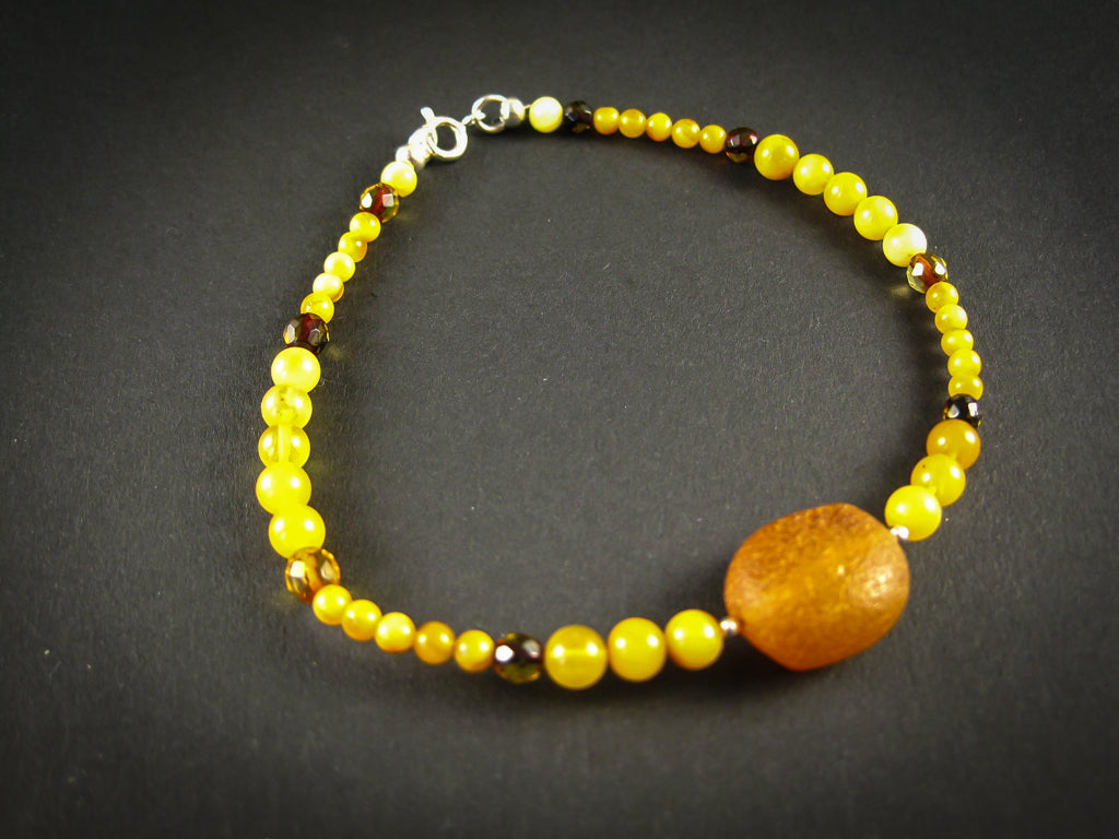 Genuine Handmade Amber Bracelet, Milky, Egg Yolk, Big Size, Small Round Beads, Nugget, Healing properties, For Her, Nursing Mums