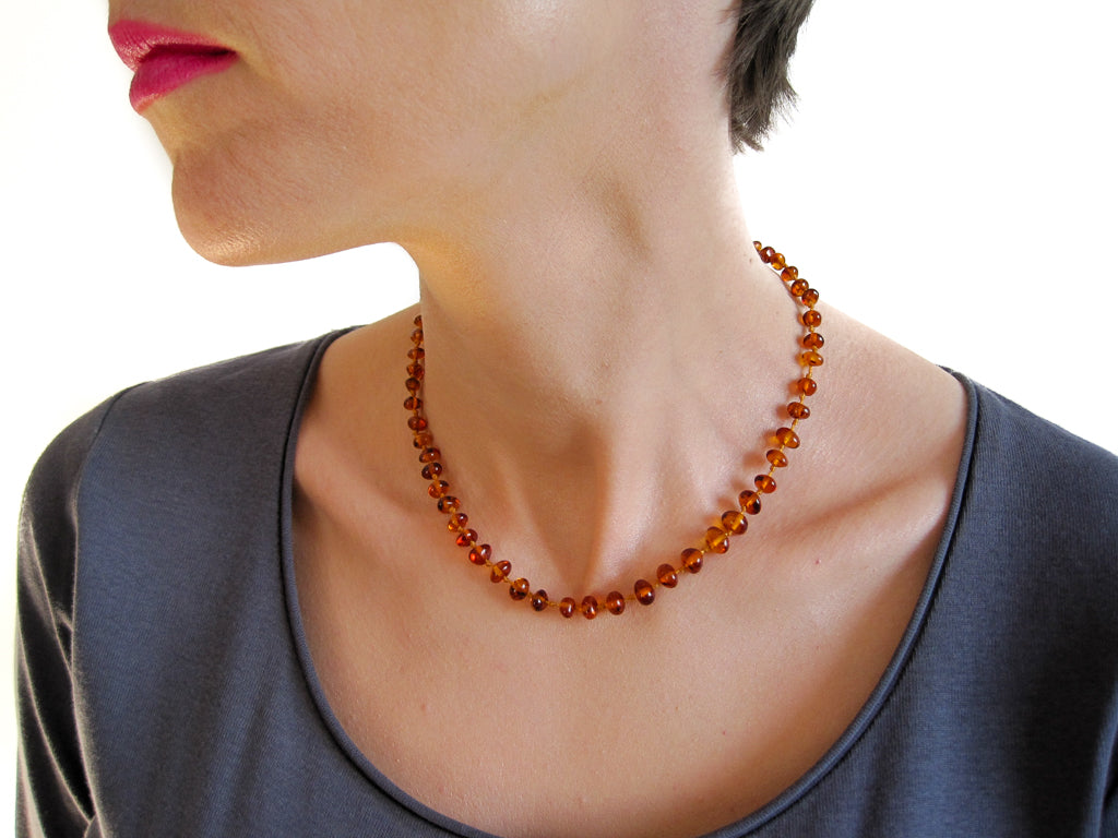 Genuine Handmade Amber Necklace on woman's neck, Cognac Beads, for Adults, Polished Beads, Gemstone, Healing properties, Nursing Mums, for Women