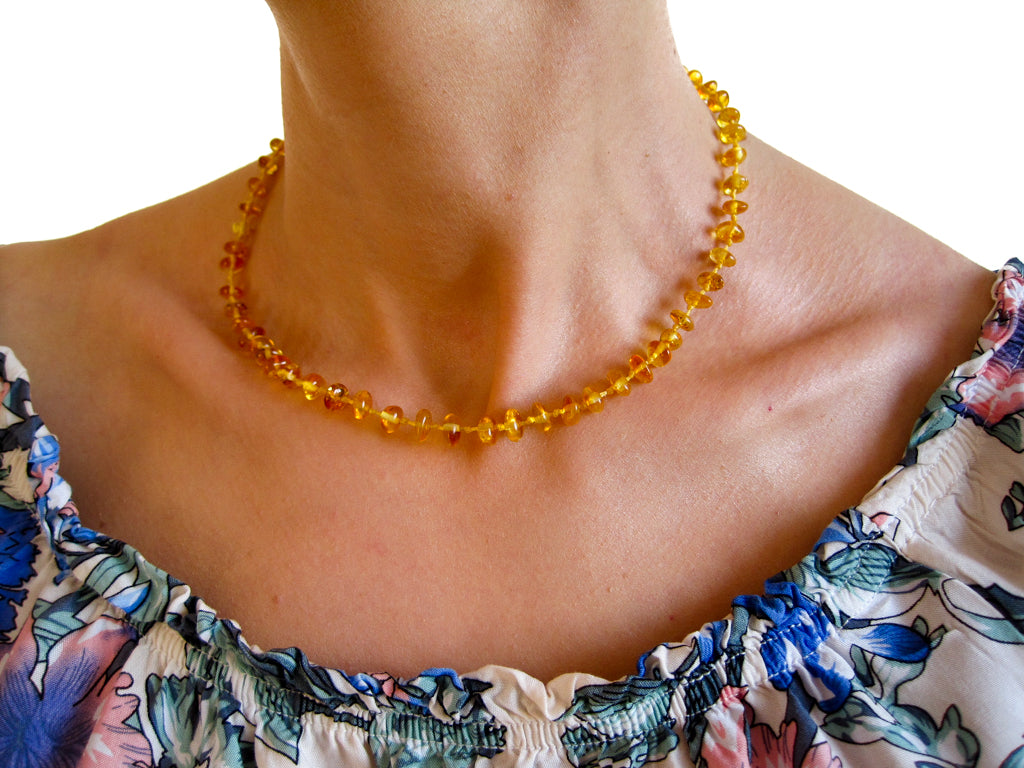 Genuine Handmade Amber Necklace on woman's neck, Lemon Beads, for Adults, Polished Beads, Gemstone, Healing properties, Nursing Mums, for Women