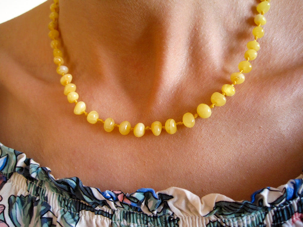 Genuine Handmade Amber Necklace on woman's neck, zoom, Milky, Yellow, Egg Yolk Beads, for Adults, Polished Beads, Gemstone, Healing properties, Nursing Mums, for Women