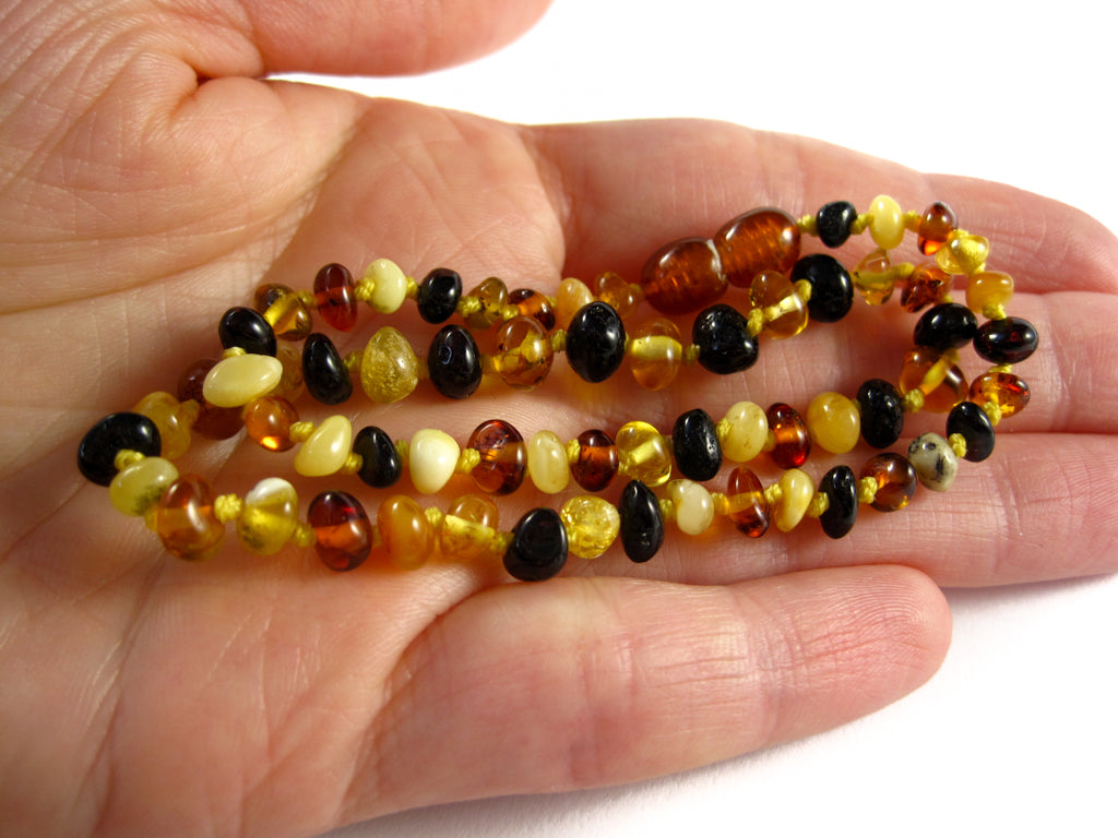 Genuine Handmade Amber Necklace on Woman's Hand, Multicolor Beads, for Adults, Polished Beads, Gemstone, Healing properties, Nursing Mums, for Women