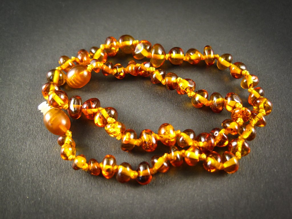 amber teething necklace, cognac polished beads, plastic screw clasp, healing, succinic acid, genuine baltic amber, for babies and nursing mums, made in poland
