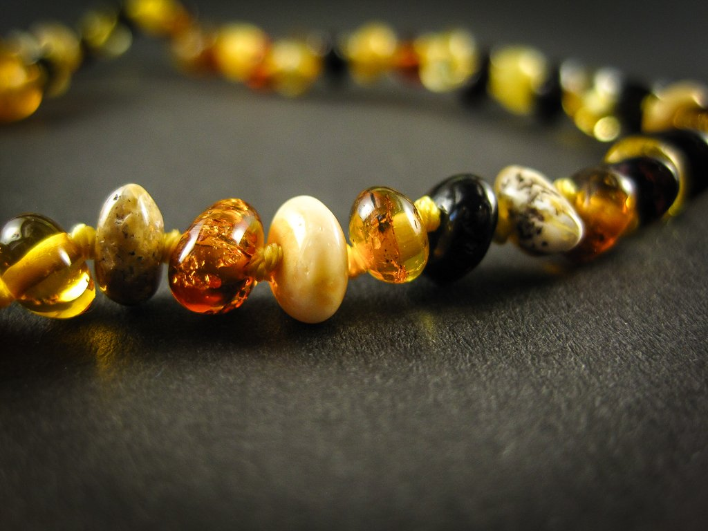 amber teething necklace, multicolor polished beads, plastic screw clasp, healing, succinic acid, genuine baltic amber, for babies and nursing mums, made in poland