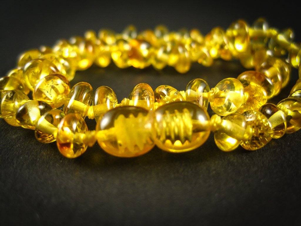 amber teething necklace, lemon polished beads, plastic screw clasp, healing, succinic acid, genuine baltic amber, for babies and nursing mums, made in poland