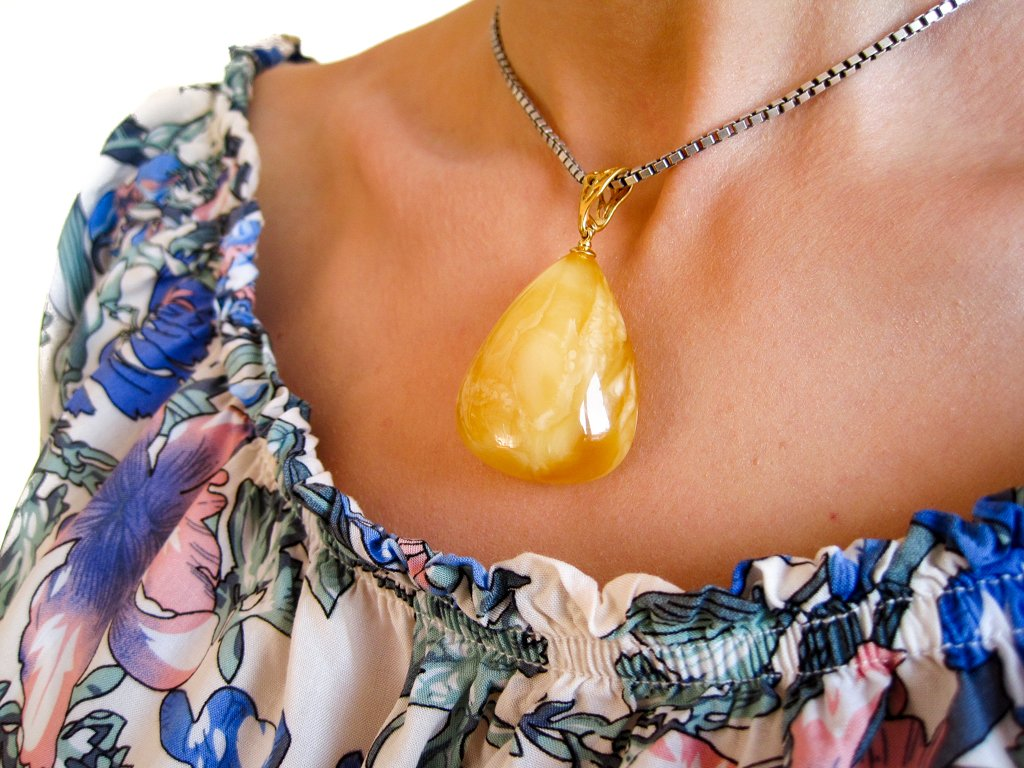 Dazzling Yellow Vibes Gold Plated Amber Pendant with Yellow Egg-Yolk Baltic Amber, for her, amber gift