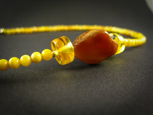 Genuine Handmade Baltic Amber Necklace for Adults, small polished milky beads + one cognac irregular polished amber, Healing properties, Nursing Mums, Gift for Women