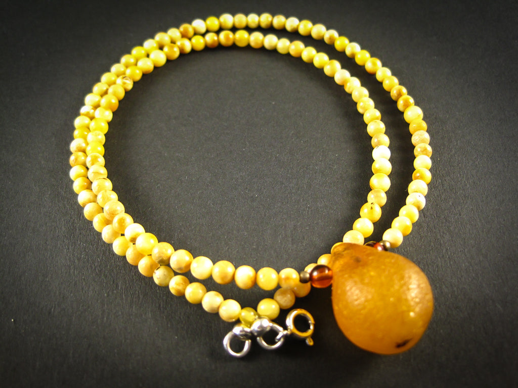 Genuine Handmade Baltic Amber Necklace for Adults, small polished milky beads + one cognac amber nugget, Healing properties, Nursing Mums, Gift for Women