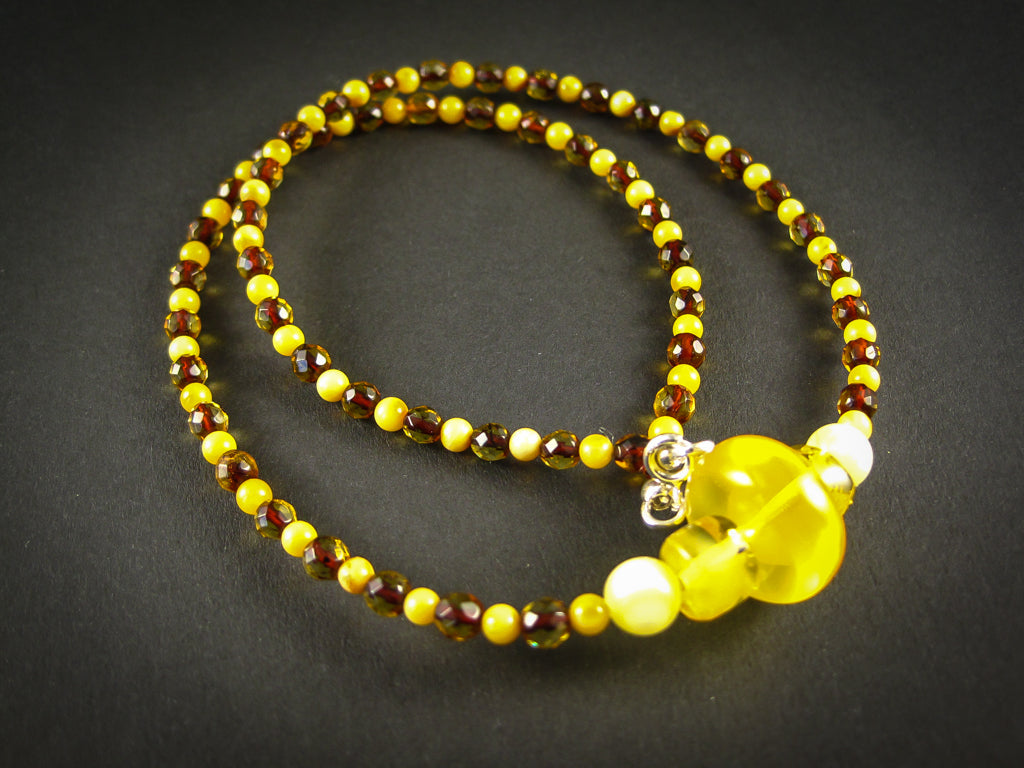 Genuine Handmade Baltic Amber Necklace for Adults, small polished and faceted beads, multicolor, Healing properties, Nursing Mums, Gift for Women