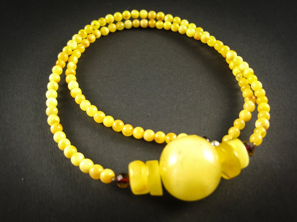 Genuine Handmade Baltic Amber Necklace for Adults, small polished milky beads + one big round milky amber piece, Healing properties, Nursing Mums, Gift for Women