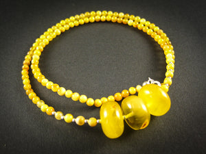 Genuine Handmade Baltic Amber Necklace for Adults, small polished milky beads + three oval lemon amber pieces, Healing properties, Nursing Mums, Gift for Women
