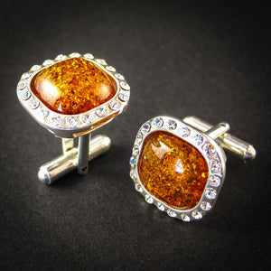 Elegant Silver Cufflinks with Zircons and Cognac Genuine Baltic Amber for Wedding and Classy Men, Sparkling Cognac