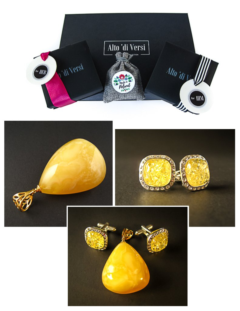 Amber Jewelry Set of Silver Cufflinks with Zircons and Lemon Baltic Amber + Gold Plated Pendant with Milky Yellow Baltic Amber Dazzling Yellow Vibes