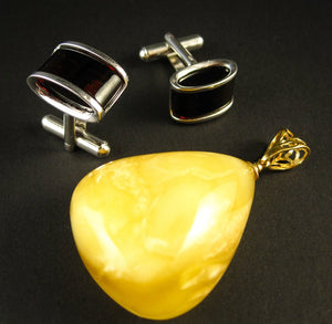 Amber Jewelry Set of Silver Cherry Amber Cufflinks and Gold Plated Yellow Amber Pendant William & Kate's Style