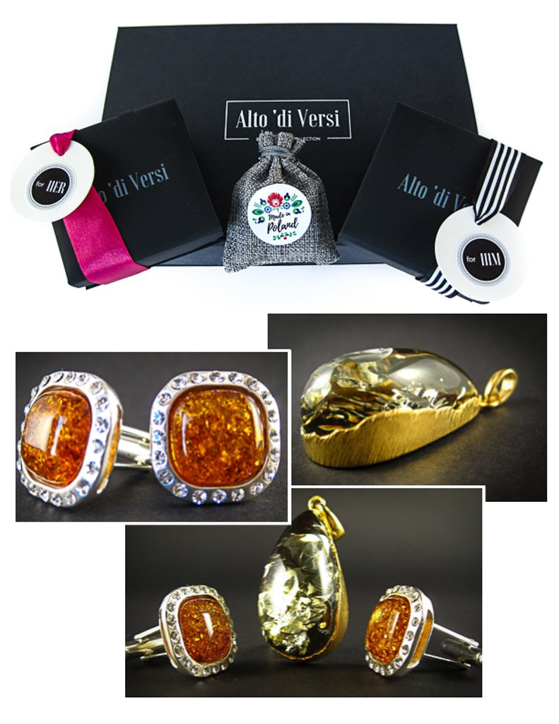 Amber Jewelry Set of Silver Cognac Amber Cufflinks with Zircons and Green Amber Pendant Risky Match