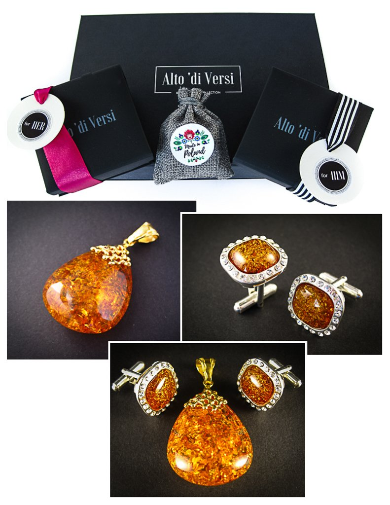 Amber Jewelry Set of Silver Cufflinks with Zircons and Gold Plated Pendant both with Cognac Baltic Amber Sparkling Cognac