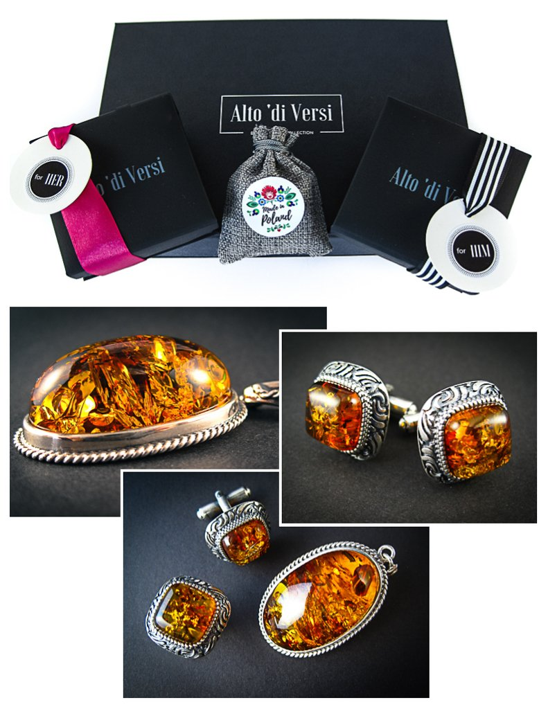 Amber Jewelry Set of Cognac Amber Silver Cufflinks and Pendant Vitalizing Honey