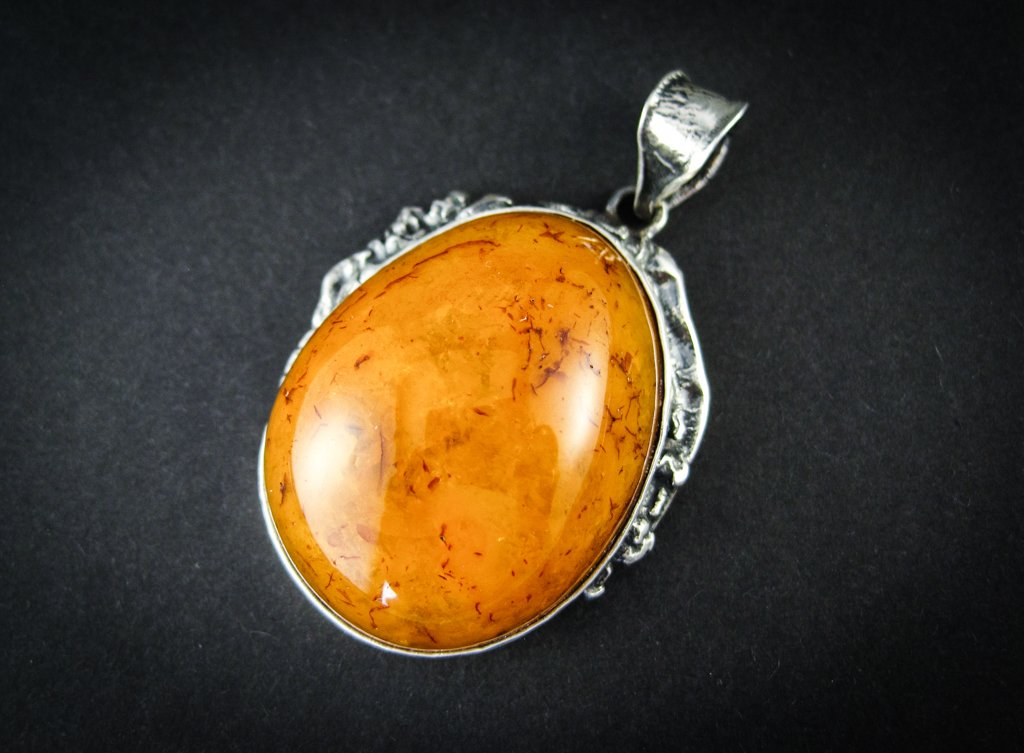 New Royal  Silver Amber Pendant with Milky Cognac Baltic Amber, vintage, for her, amber gift