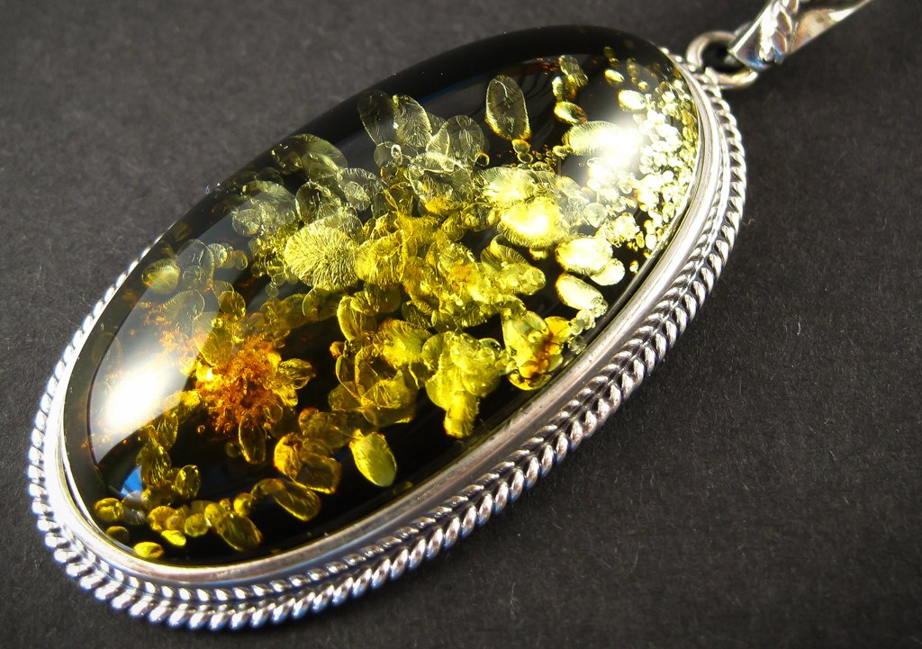 Harmonious Green Silver Amber Pendant with Green Baltic Amber zoom