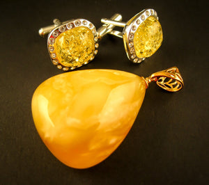 Dazzling Yellow Vibes Set Baltic Amber Jewelry Yellow Amber Cufflinks and Pendant