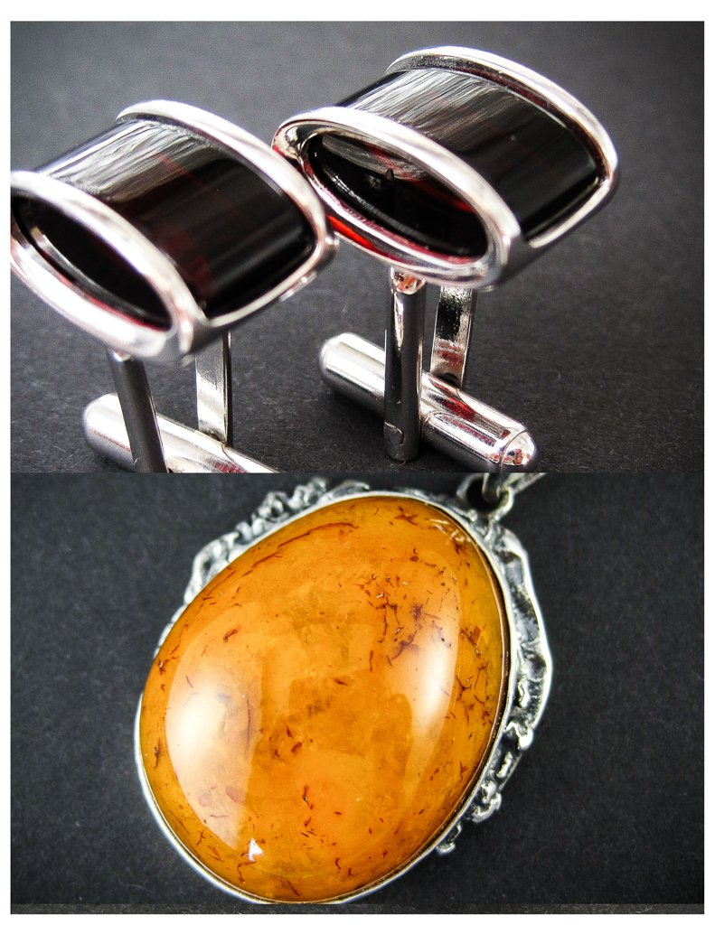 Amber Jewelry Set of Silver Cherry Amber Cufflinks and Vintage Cognac Amber Pendant New Royal