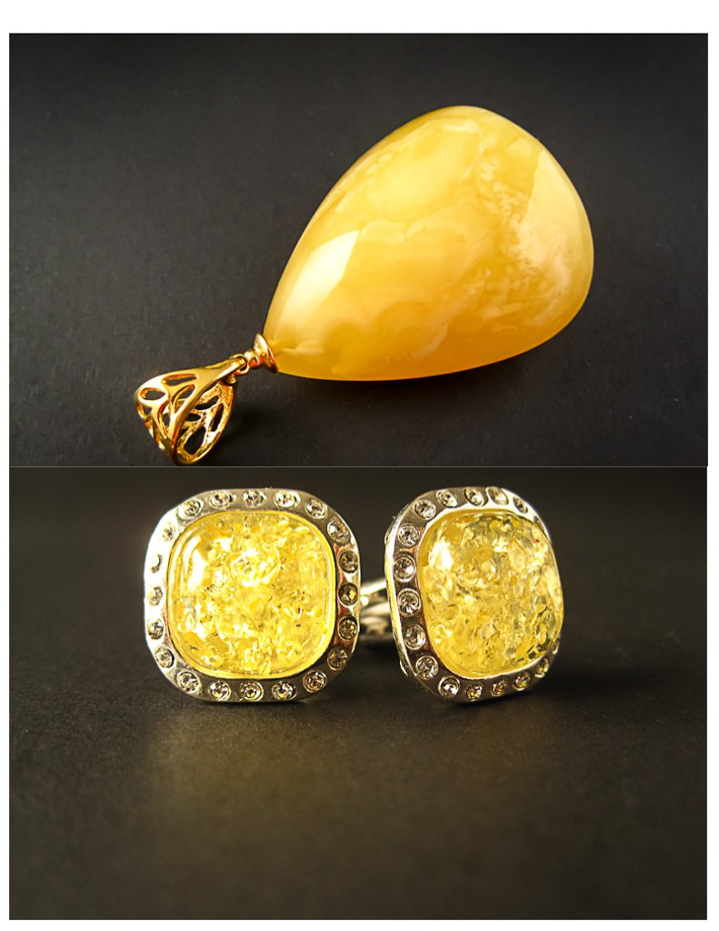 e7b73feee1 Amber Jewelry Set of Silver Cufflinks with Zircons and Lemon Baltic Amber +  Gold Plated Pendant
