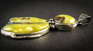 Baltic Amber Pendant with Milky Green Amber, Silver Plated, original shape, handmade in Poland, Gift for Her, side view