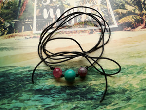 choker necklace black leather cord 3 coloured beads altodiversi free