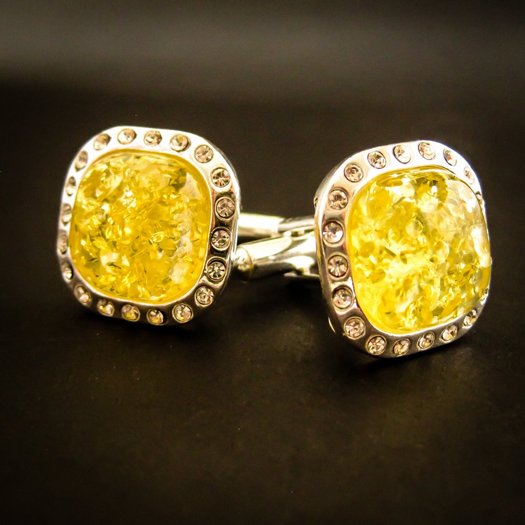 Elegant Silver Cufflinks with Yellow Genuine Baltic Amber and Zircons for Wedding and Classy Men, Dazzling Yellow Vibes