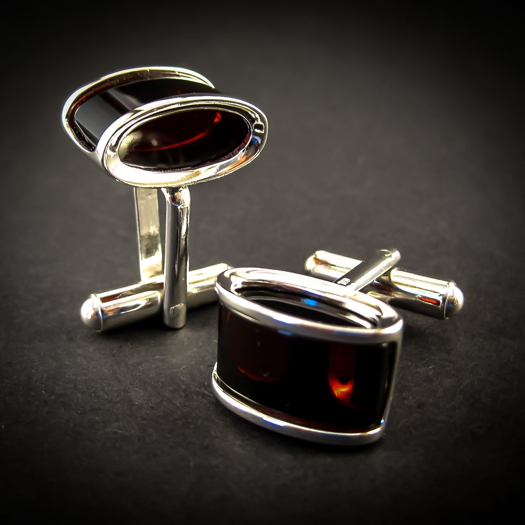 Luxury Silver Cufflinks with Cherry Genuine Baltic Amber for Wedding and Classy Men, William's Style