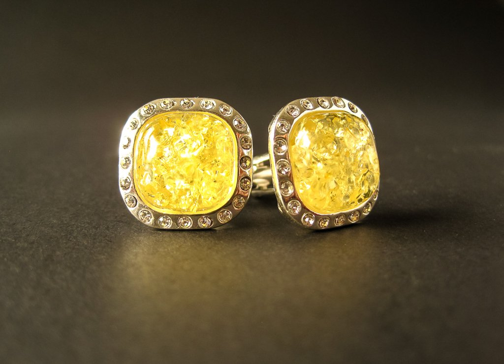 Silver Cufflinks with Yellow Baltic Amber and Zircons for Wedding and Classy Men Dazzling Yellow Vibes