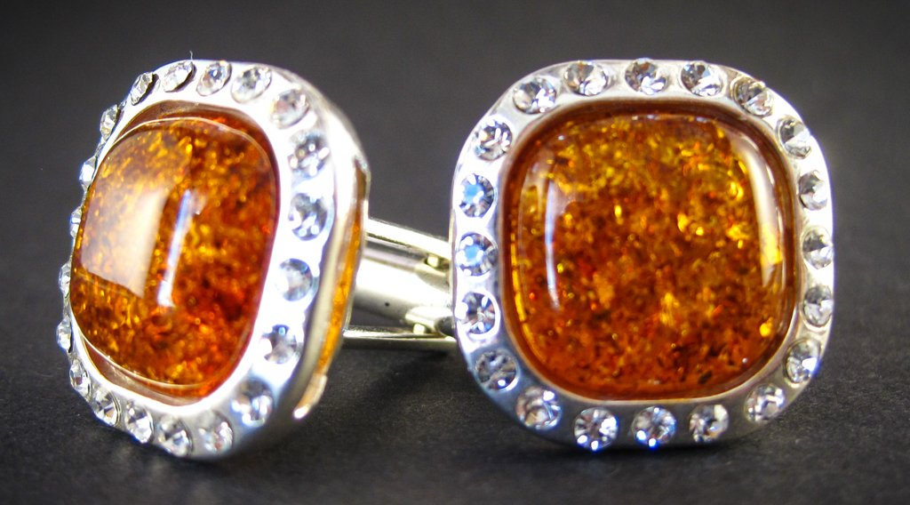 Silver Cufflinks with Zircons and Cognac Baltic Amber for Wedding and Classy Men Sparkling Cognac